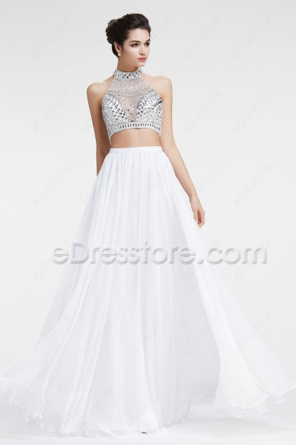 White Crystals Sparkly Two Piece Prom Dresses Long