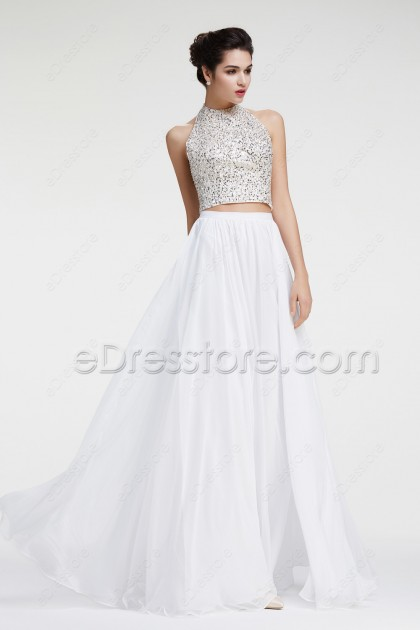 Halter Sparkly White Two Piece Prom Dress Long