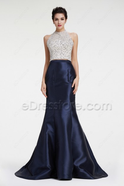 Navy Halter Mermaid Sparkly Prom Dresses Two Piece