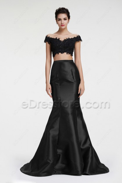 Off the Shoulder Mermaid Two Piece Prom Dresses Pageant Dress