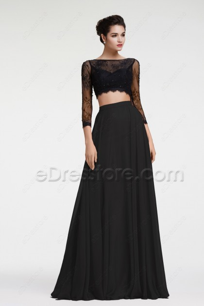 Two Piece Long Sleeves Prom Dresses Black