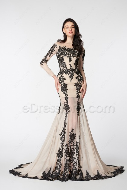 Champagne Mermaid Prom Dress Long Sleeves with Black Lace
