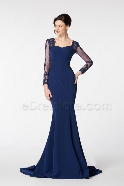 Navy Blue Mermaid Lace Prom Dress Long Sleeves