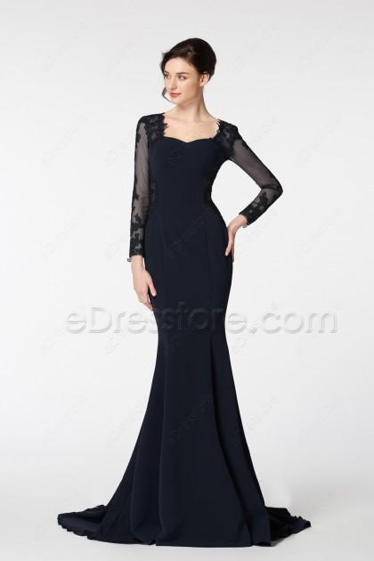 Mermaid Black Evening Dresses Long Sleeves