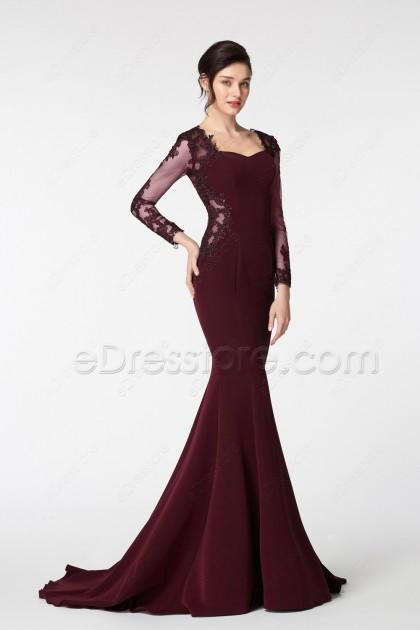 Dark Burgundy Mermaid Prom Dresses with Long Sleeves