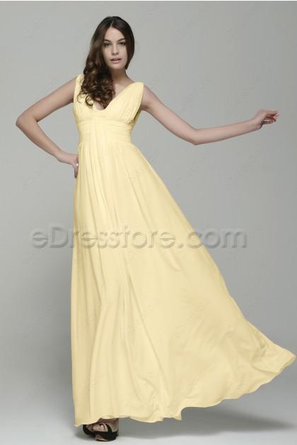 Simple Elegant Soft Yellow Chiffon Long Prom Dresses