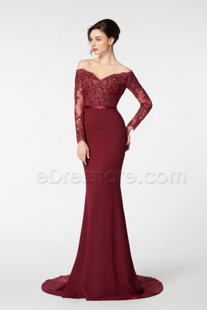 Burgundy Off the Shoulder Mermaid Prom Dress Long Sleeves