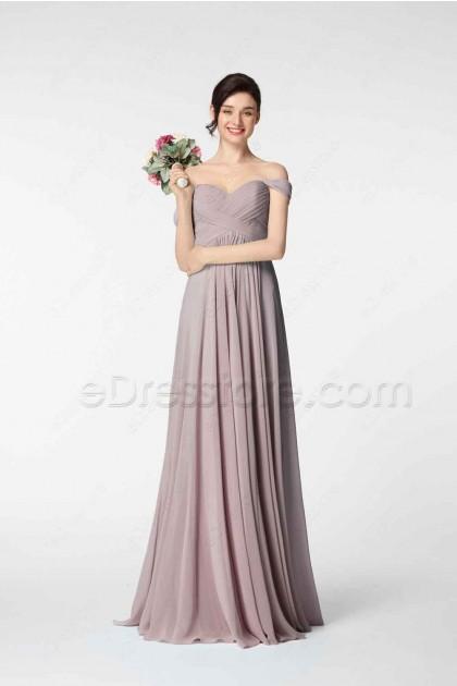 Off the Shoulder Pinkish Grey Bridesmaid Dresses