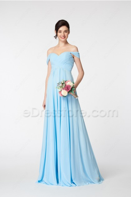Light Blue Off the Shoulder Bridesmaid Dresses