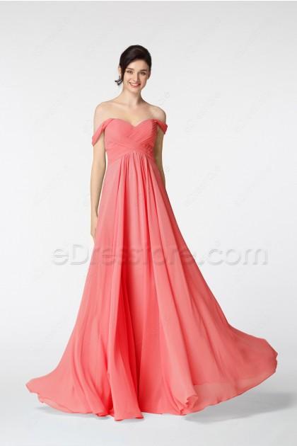 Coral Off the Shoulder Long Evening Dresses
