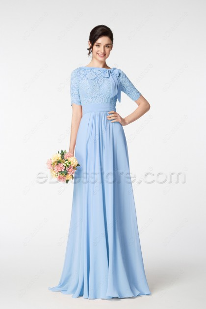 Modest Light Blue Prom Dresses with Elbow Sleeves and Bow