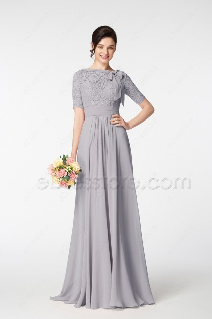 Grey Lace Modest Mother of the Bride Dress with Elow Sleeves
