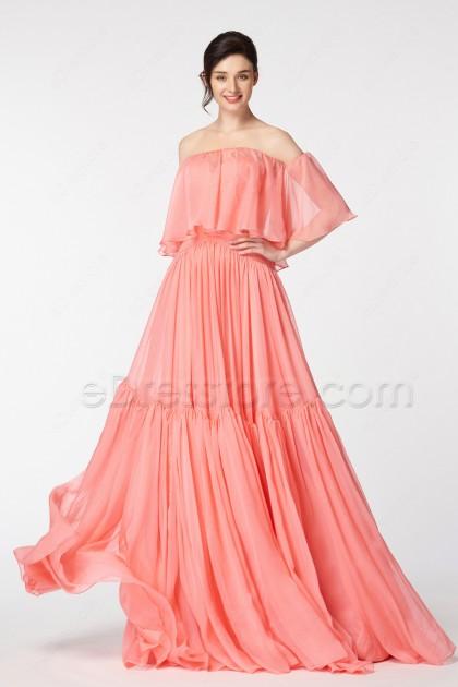 Coral Boho Prom Dresses Long
