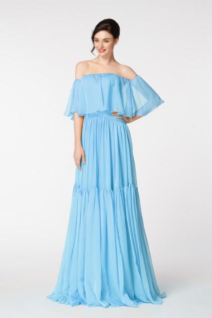Light Blue Evening Dress with Off the Shoulder Wrap