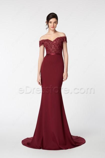 Off the Shoulder Mermaid Burgundy Prom Dresses Long