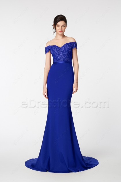 Royal Blue Mermaid Off the Shoulder Evening Dresses
