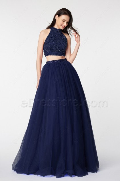 Halter Beaded Navy Blue Pageant Evening Dress Long