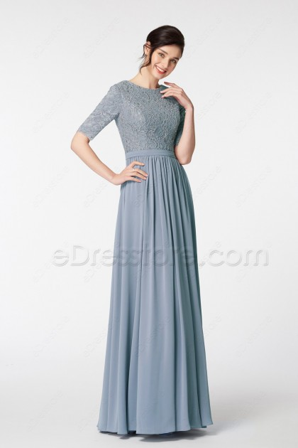 Dusty Blue Modest Bridesmaid Dress with Sleeves