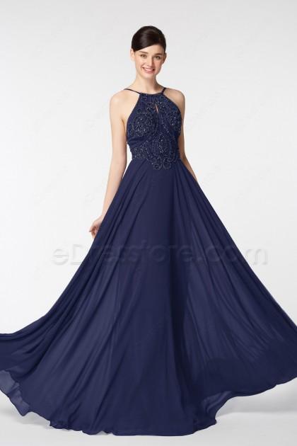 Navy Blue Beaded Long Prom Dresses