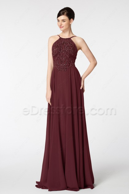 Burgundy Crystal Beaded Pageant Formal Dress Long