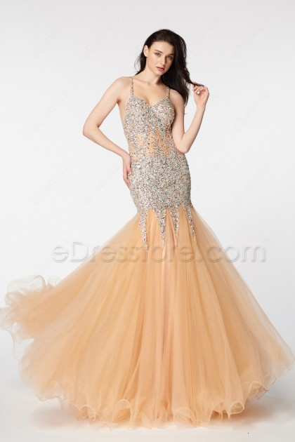Crystals Beaded Sparkly Mermaid Backless Prom Dresses Long