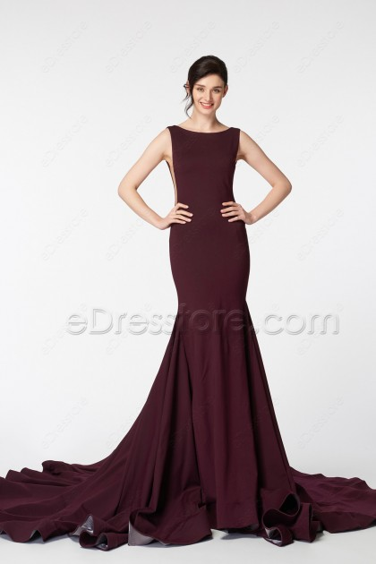 Burgundy Mermaid Backless Prom Dress Long with Train