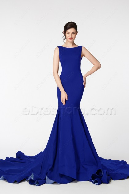 Royal Blue Mermaid Backless Homecoming Dresses Pageant Prom Dress