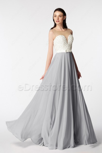 Grey Bridesmaid Dresses Long with Pearl Beadings