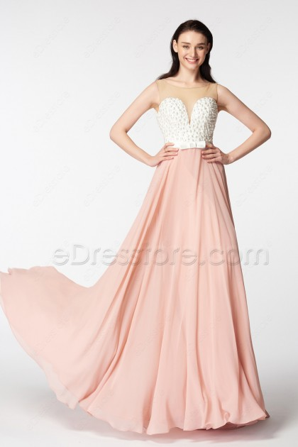 White Pearls Blush Pink Backless Prom Dresses Long