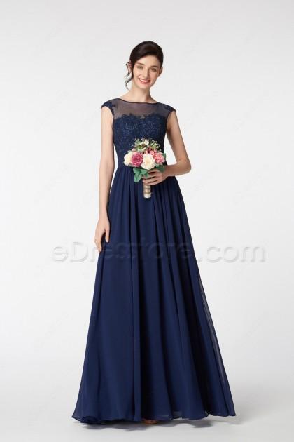Navy Blue Modest Bridesmaid Dresses with Lace Appliques