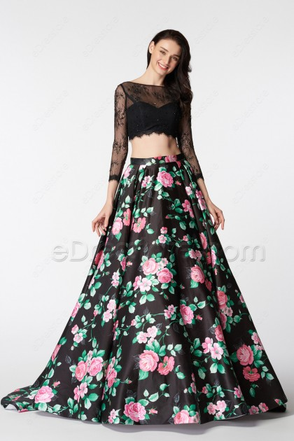 Black Floral Ball Gown Two Piece Prom Dresses Long Sleeves