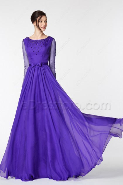 Purple Beaded Mother of the Bride Dress Long Sleeves