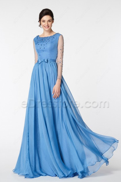 Lakeside Blue Beaded Modest Prom Dresses Long Sleeves