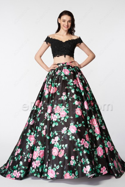 Off the Shoulder Floral Prom Dresses Two Piece