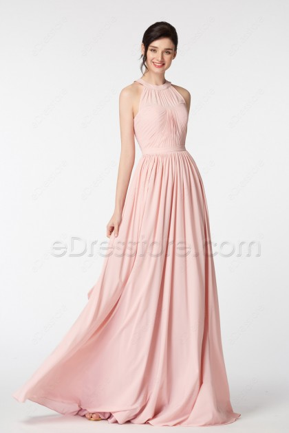 Halter Blush Bridesmaid Dresses