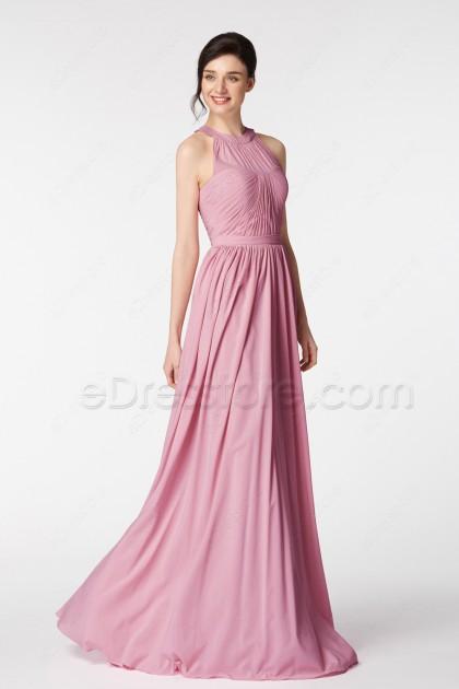 Rose Color Halter Formal Dresses Long