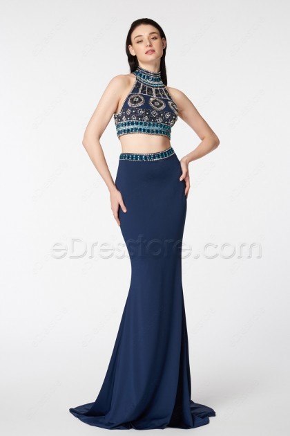 Navy Blue Beaded Boho Two Piece Mermaid Prom Dresses Long
