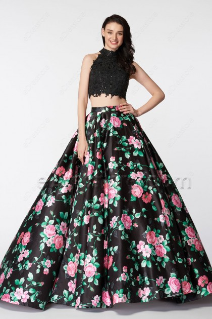 High Neck Backless Two Piece Floral Prom Dresses