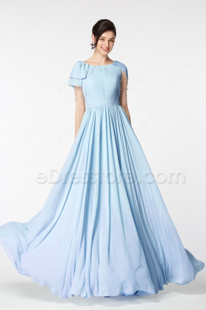 Light Blue Modest Prom Dress Long with Beadings