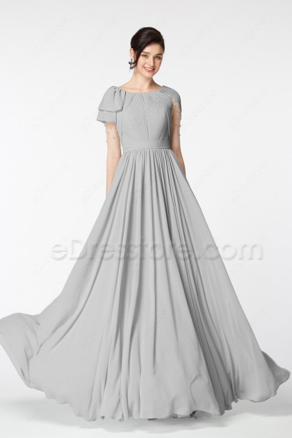 Gray Modest Mother of the Bride Dresses Elbow Sleeves