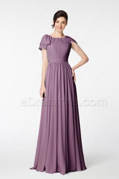 Dusty Purple Modest Formal Dresses Long