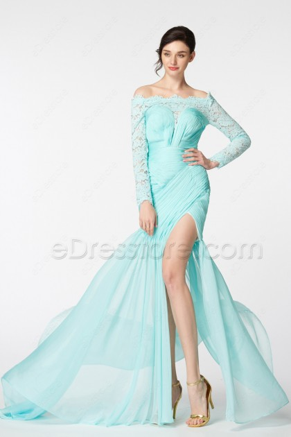 Light Aqua Blue Long Sleeves Prom Dresses with slit