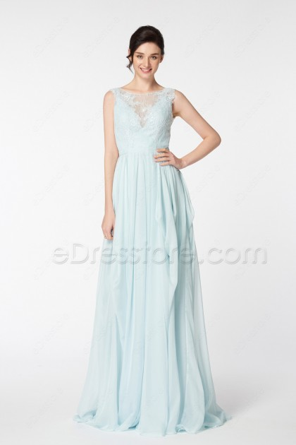 Light Dusty Blue Lace Chiffon Backless Wedding Dresses