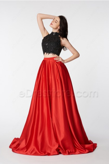 Two Piece Backless Prom Dresses Red High Neck