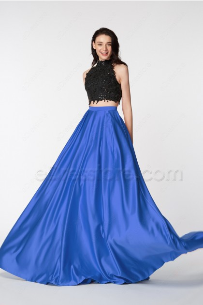 Royal Blue High Neck Two Piece Pageant Evening Dresses Long