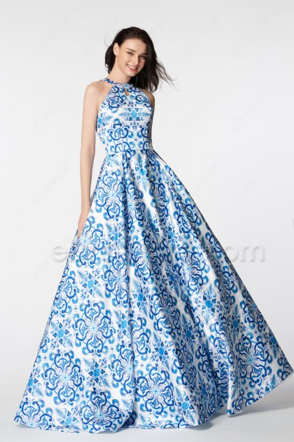 Blue Backless Print Ball Gown Prom Dresses