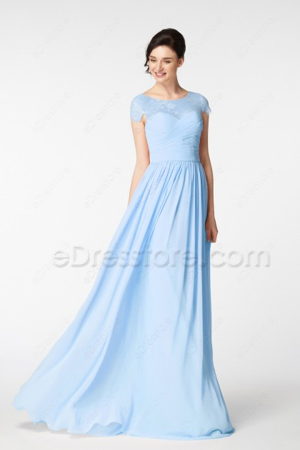 Modest Light Blue Long Prom Dress Cap Sleeves