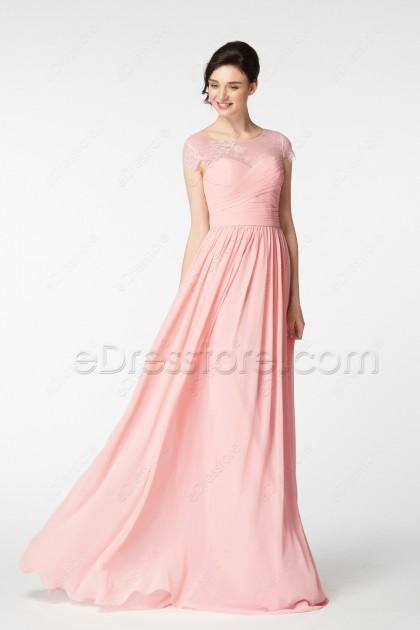 Blush Pink Evening Dress Long Cap Sleeves