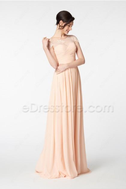 Peach Bridesmaid Dress with Cap Sleeves