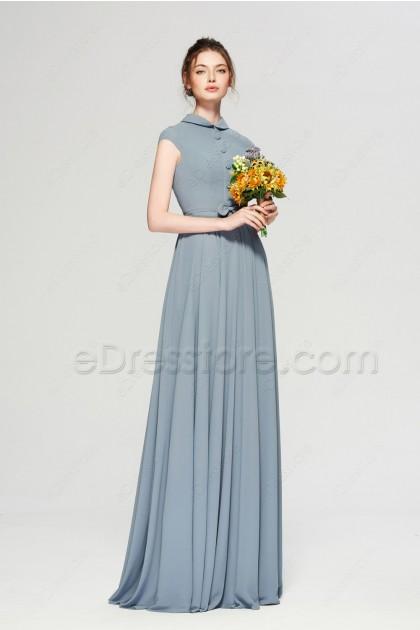 Modest Dusty Blue Bridesmaid Dress Cap Sleeves